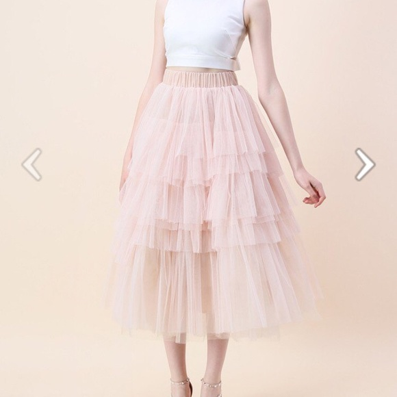 6d2ffe29ba Chicwish Skirts | Nwt Love Me More Layered Tulle Skirt In Nude Pink ...